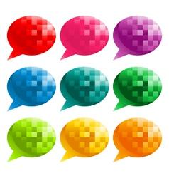 Colorful Pixel Speech Bubbles vector image vector image