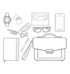 Every day carry man items Businessman Line-art vector image vector image