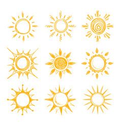 funny doodle summer smile orange sun icons vector image vector image