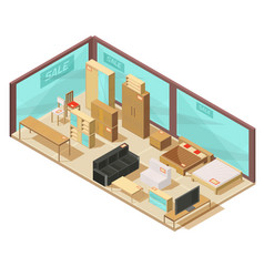 furniture store isometric composition vector image vector image
