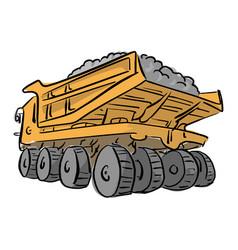 loaded big yellow mining truck vector image