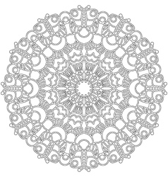 Adult coloring book spring mandala black and white vector