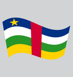 central african republic flag wavy gray background vector image