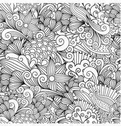 doodle floral decorative pattern vector image vector image