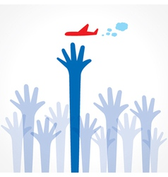 every hand try to catch the airplane vector image