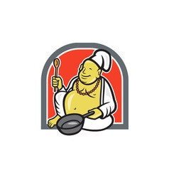 Fat Happy Buddha Chef Cook Cartoon vector image