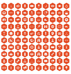 100 sport journalist icons hexagon orange vector image