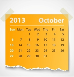 2013 calendar october colorful torn paper vector