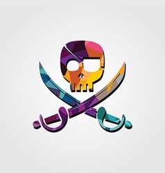 Abstract skull colorful triangle geometrical vector image