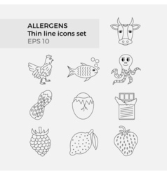 Allergens thin line icons set vector image