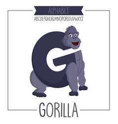 alphabet letter g and gorilla vector image