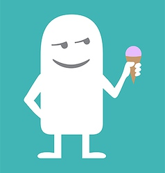 Animated personality man with ice cream vector