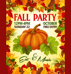 Autumn fall party invitation poster vector