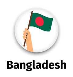 Bangladesh flag in hand round icon vector