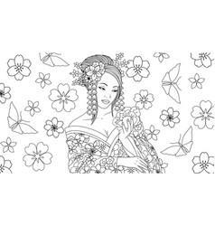 beautiful geisha girl admires vector image