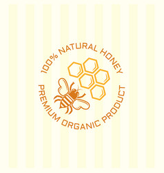 bee and honeycomb isolated colored emblem vector image