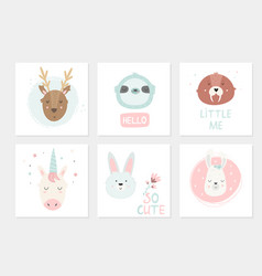 Big set cards with hand drawn animals vector
