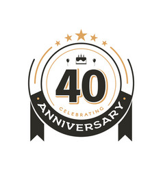 Birthday vintage logo template to 40 th vector