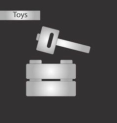 Black and white style toy hammer vector