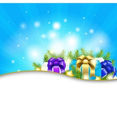 Blue Sunburst Background With Gift vector