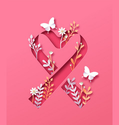 Breast cancer pink paper cut ribbon heart isolated vector