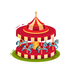 bright red merry-go-round with blue horses vector image