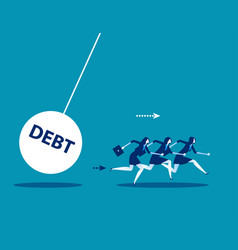 business team with huge debt bomb concept vector image