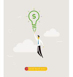 Businessman flying on a lamp vector