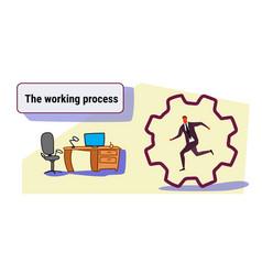 businessman running cog wheel deadline working vector image