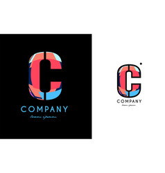 c blue red letter alphabet logo icon design vector image