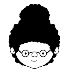Caricature face grandmother with a curly bun hair vector
