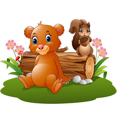 cartoon baby brown bear and squirrel in the forest vector image