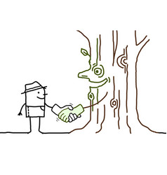 Cartoon gardener shaking hand with a smiling tree vector