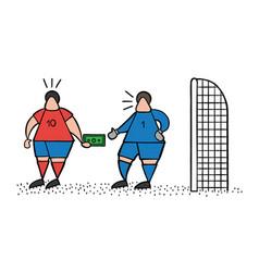 cartoon soccer player man giving bribe and vector image