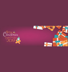 christmas gifts wide banner with colorful box vector image