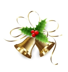 Christmas Holly Berry and gold bells vector image