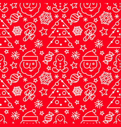 Christmas seamless pattern - santa and candy canes vector