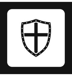 Combat shield with cross icon simple style vector