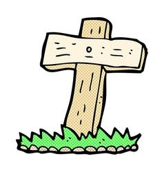 Comic cartoon wooden cross grave vector