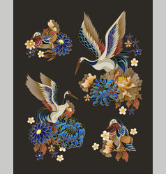 Compositions with mandarin ducks flowers and vector