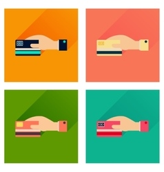 Concept flat icons with long shadow bank card hand vector image