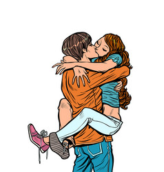 Couple in love hugs passionate kiss man holding vector