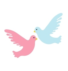Couple pigeons icon flat design Isolated on vector image