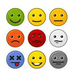 Customer feedback smile icons set on white vector