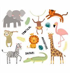 Cute tropical animals set vector
