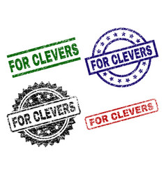Damaged textured for clevers seal stamps vector