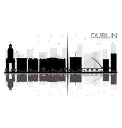 Dublin city skyline black and white silhouette vector