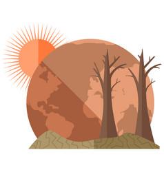 Earth global warming poster mockup dried hot vector