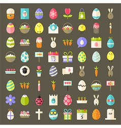 easter flat styled icons vector image