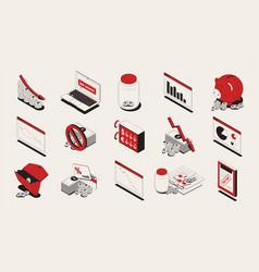 economic crisis isometric icons set vector image